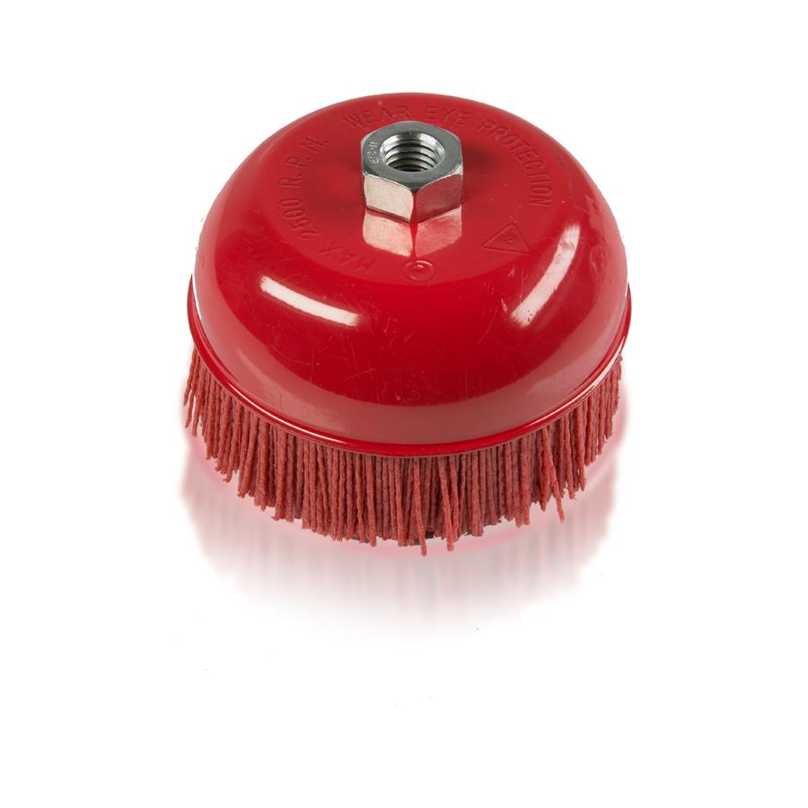 """6/"""" Cup Brush 2500 max.RPM 5//8/""""-11 Thread Nylon Filament"""